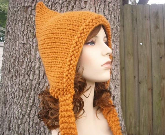 Orange Womens Hat - Apricot Orange Pixie Hat Orange Knit Hat - Orange Hat Womens Accessories Winter Hat