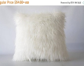 Mothers Day Sale 18x18 Mongolian faux fur pillow, faux fur pillow cover, faux fur, pillow cover, Mongolian fur, fur pillow cover