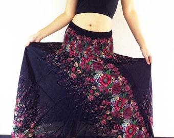 Women Maxi Dress Gypsy Dress Skirt Rayon Dress Skirt Boho Dress Hippie Dress Summer Beach Dress Long Skirt Clothing Black (DS32)