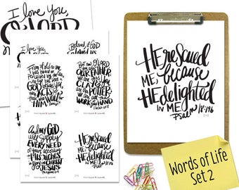 """PRINTABLE DIGITAL DOWNLOAD Scripture Bible Verse """"Words of Life"""" Set #2 of 8 cards with two 8x10"""" art prints"""