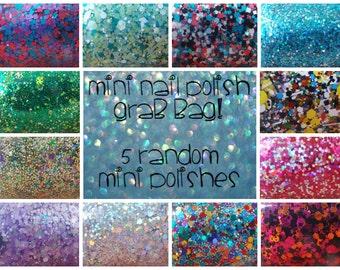 Random Mini Nail Polish Grab Bag - Glitter Holographic Rainbow Indie Nail Polish - 5 Mini Nail Polishes