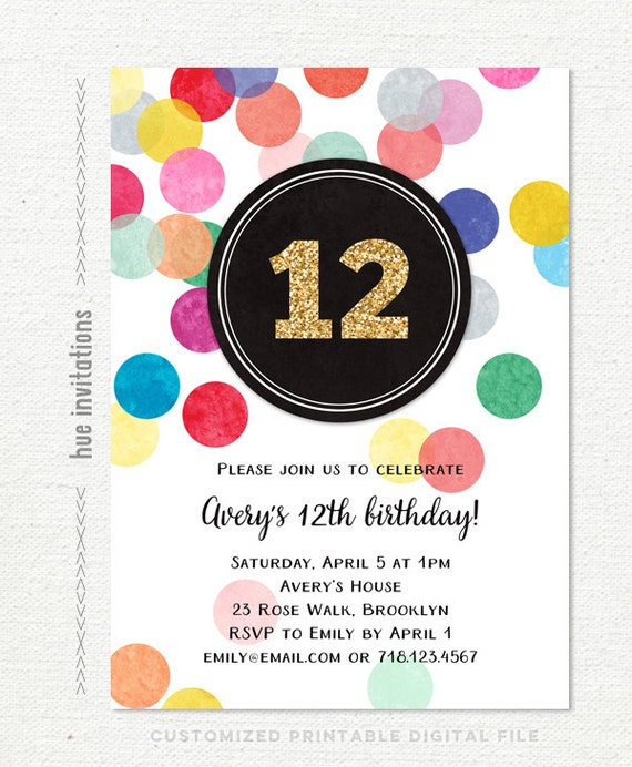 12th birthday invitations for girls gold glitter rainbow