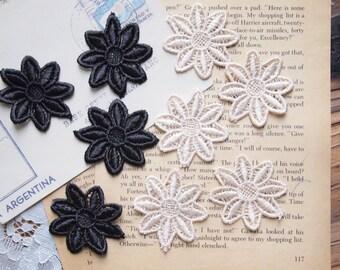 2pcs applied Fleur Venice lace, black, Beige, M121