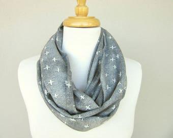 Silver Grey Loop Scarf - Infinity Scarves - Gray Cowl - Grey Fashion Scarf