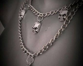 Gothic metal biker chain necklace