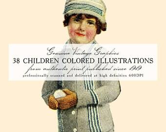 DIGITAL DOWNLOAD 38 Vintage Children Colored Illustrations (1919-1920)