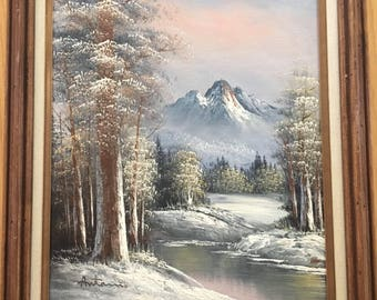 Vintage 80s original oil painting on canvas western mountains/forest/snow/river/trees/sky mountain tops, signed framed, beautiful.