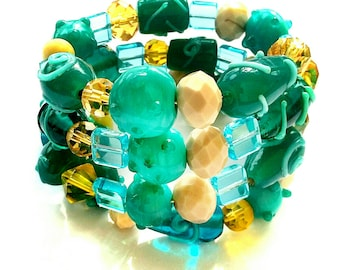 Teal and Cream Wrap Bracelet, Handcrafted Wrap Bracelet, Glass Beaded Wrap Bracelet, Memory Wire Wrap Bracelet