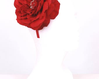 READY TO SHIP: Forever Fanciful Flower Headband - Red Open Rose - Fits Toddler to Adult - Cutie Patootie Designz