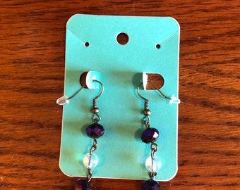Handmade earrings purple and white