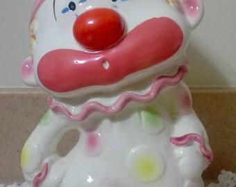 1960's Lefton Kotobuki Circus Clown Ceramic Coin Bank Made in Japan, Lefton,Clowns,Nursery Decor, Cute Clowns, Coin Banks, Piggy Bank, Clown