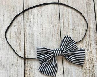Black white bow headband {fabric headband, black white stripes}