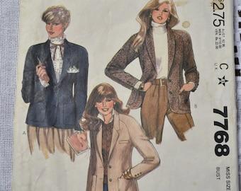 McCalls Sewing Pattern 7768 Misses Jacket Size 8 Fashion Clothing DIY  PanchosPorch