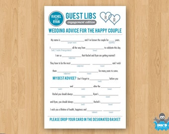 Gray & Blue DIY Printable Engagement Mad Libs Guestbook - PDF