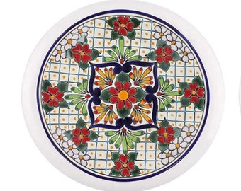 Red Flower Talavera Knob Pull for Cabinet or Drawer
