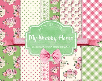 "Shabby chic digital paper : ""My Shabby Home"" pink and green digital paper in shabby chic style, rose digital paper, floral digital paper"
