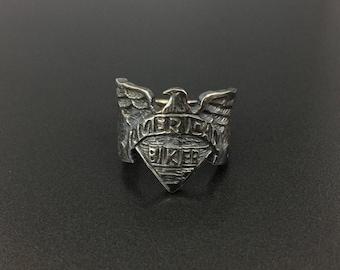 Vintage Sterling Silver American Biker Eagle Ring Size 9.25