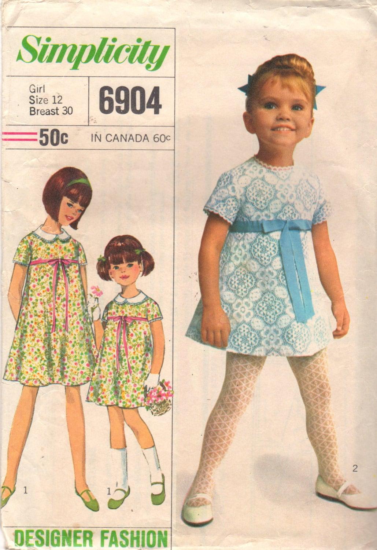 Simplicity 6904 1960s designer fashion childs dress pattern girls simplicity 6904 1960s designer fashion childs dress pattern girls dainty lace party frock vintage sewing pattern size 12 breast 30 jeuxipadfo Gallery
