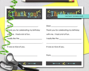 Fill In The Blank Thank you note, Neon Chalk, Printable Stationery Sheets, Instant Download, Printable File 1238