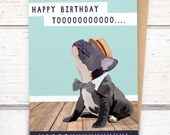Singing French Bulldog Birthday Card. Funny birthday card. French Bulldog Gifts. France bulldog cards. Frenchie Birthday Card Funny.