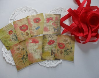 Pretty Poppies Altered Tags-with vintage Seam Binding Ties-Set of 9-ATC