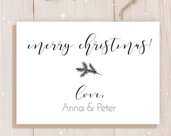 Printable Christmas Cards | Custom Greeting Card | Personalized Christmas Printable | Merry Christmas | Download | Minimalistic | 4on1page