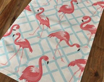 Pink Flamingo Table Runner on Blue lattice