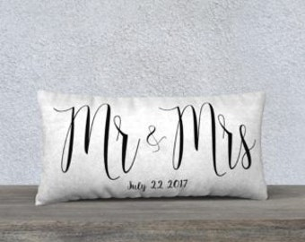 Mr & Mrs Throw Pillow Cover with Personalized Date Option- Home Decor- Newlyweds- Wedding Gifts