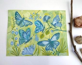 Papillons. Gouache original painting.