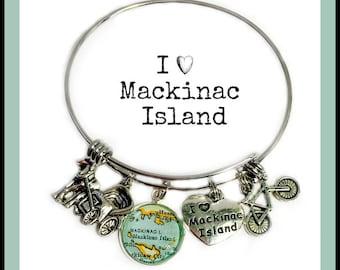 Mackinac Island Michigan Charm Bracelet