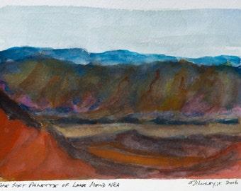 The Soft Palette of Lake Mead NRA - Original Watercolor Sketch - Boulder City, NV, 5 x 7