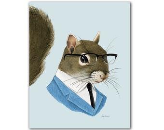 Squirrel art print - Woodland nursery - Nursery art - Woodland animals - Animals in Clothes - Animal Art - Ryan Berkley Illustration 8x10