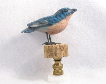 Lamp Finial, Bluebird Standing on a Log.  Hand Painted Vintage Bird. T1804