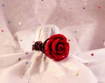 Red Rose Wire Wrap Ring Choose Your Size
