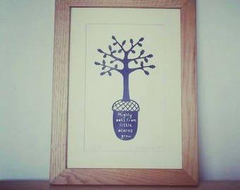 Little Acorns - an original handcut papercut by Loula Belle at Home