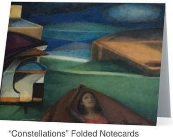 """Art Notecards (Set of 10) - """"Camping"""" Folded Notecards printed from original oil paintings, Blank inside"""