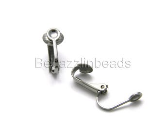 4 Dark Silver Surgical 304 Stainless Steel Flat Pad Clip On Earring Findings