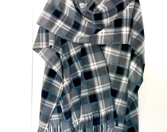 Gray Grey Teal Plaid Ladies Ruana Wrap (one size fits all)