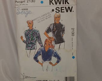 Kwik Sew Pattern 2130 Misses Knit Stretch Shirts Short Sleeve Long Sleeve Size XS S M S XL UNCUT 1991