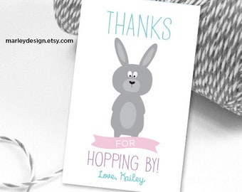 Easter Tags Printable Easter Favor Tags Easter Gift Tags Thanks For Hopping By Tags Bunny Tags Birthday Tags Birthday Thank You Tags
