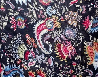 fabric, black and multicolor cotton, large PAISLEY collection.