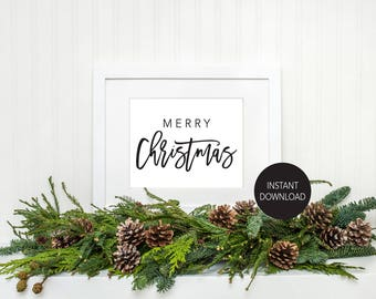 Merry Christmas Printable Instant Download Wall Art Christmas Art Home Decor DIY Holiday Art Christmas Poster