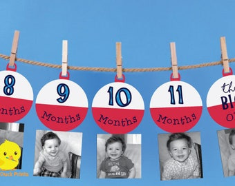 1 - 12 Month Fishing Bobber Photo Banner   The Big One Fishing Birthday   Bobber Milestone banner   Fishing Birthday Decorations   DIGITAL