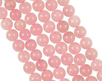 10 x 4mm pink tinted Jade round beads
