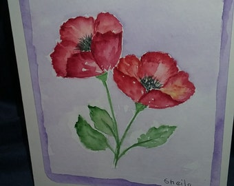 Watercolor Poppy note card