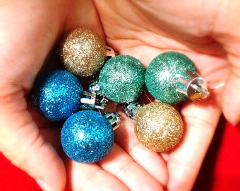Glitter Christmas Ball Dangle Earrings. You Choose. Gold. Blue. Aqua. Round. Christmas. Gift. Holiday. Festive. One Dollar Jewelry. Sale.