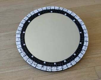 Black and White round mosaic mirror
