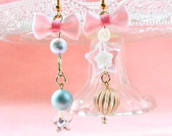 Night circus  earrings ,Romantic pink bow star Kawaii Earrings, Fairy Kei Jewelry, Sweet Lolita Jewelry,Japanese Kawaii Jewelry