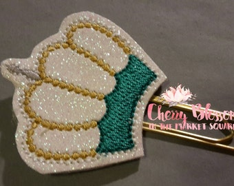Teal and Gold Crown Paper Clip