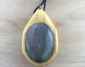 Beautiful Warm Gray Agate and Basswood Pendant